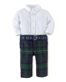 Poplin Shirt & Plaid Pants Set, 3-24 Months
