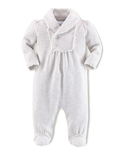 Ralph Lauren Childrenswear Infant Girls' Shawl-Collar Footie, 3-9 Months