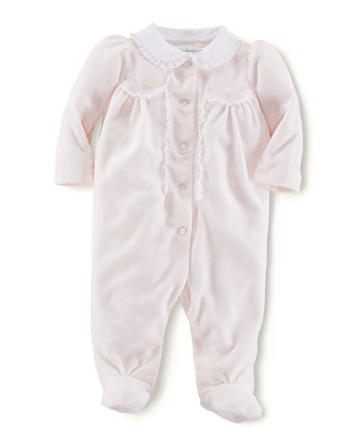 Ralph Lauren Childrenswear Lace-Trimmed Velour Footie, Delicate Pink, 3-9 Months