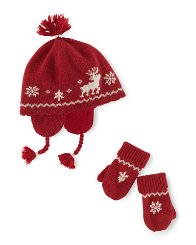 Ralph Lauren Childrenswear Reindeer Intarsia-Knit Hat & Mittens, Holiday Red, 3-24 Months