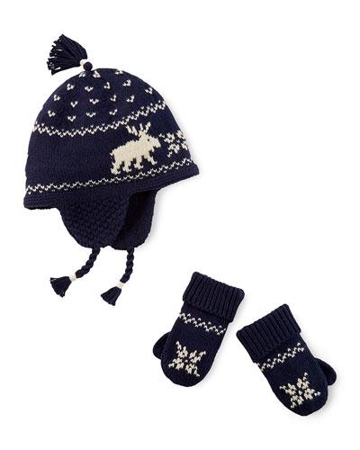 Ralph Lauren Childrenswear Reindeer Intarsia-Knit Hat & Mittens, Cruise Navy, 3-24 Months