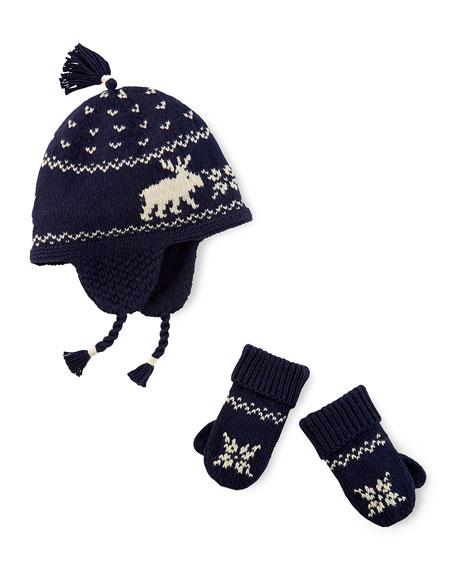 Reindeer Intarsia-Knit Hat & Mittens, Cruise Navy, 3-24 Months