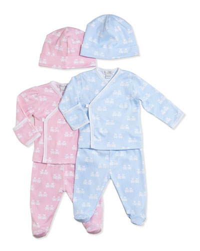 Kissy Kissy Mini Bear Cubs Footed Pajama Set, Pink/Blue, NB-9 Months