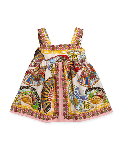 Fan-Print Empire Dress, 3-24 Months