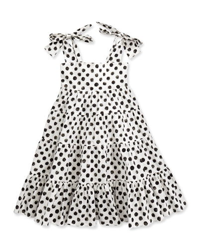 Polka-Dot-Print Poplin Dress, 3-24 Months