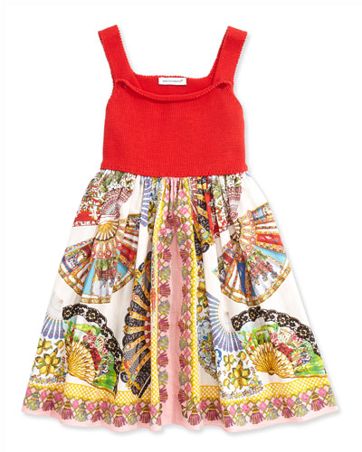 Fan-Print A-Line Dress, Red/Multicolor, Sizes 8-12