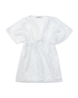 Crochet V-Neck Coverup, White, Sizes 2-7