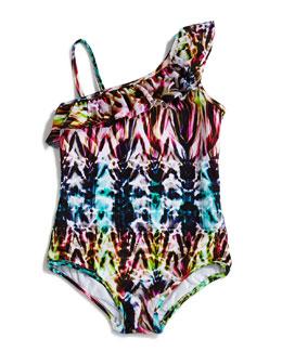 Batik-Print Ruffle-Shoulder Swimsuit, Sizes 2-7