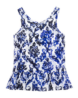 Fleur Mosaic-Print Ruffle Coverup, Blue, Sizes 8-14