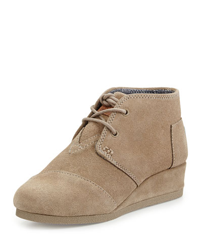 Suede Desert Wedge Boot, Taupe, Youth