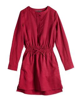Tencel® Drawstring Shirtdress, Cranberry, Sizes 4-6X
