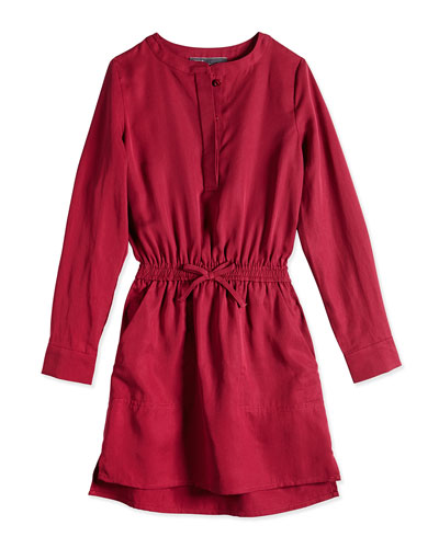 Tencel® Drawstring Shirtdress, Cranberry, Sizes 4-6X