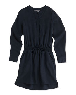 Tencel® Drawstring Shirtdress, Light Blue, Girls' 4-6X