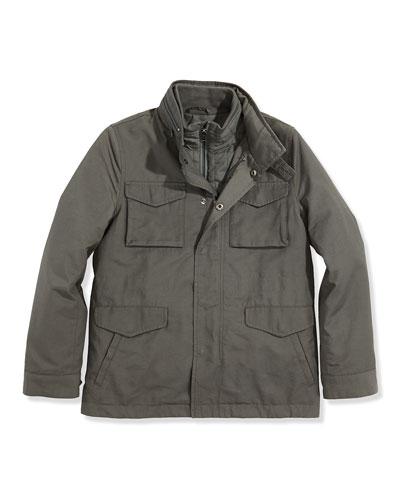 Boys' 3-in-1 Field Jacket, Dark Gray, 4-7