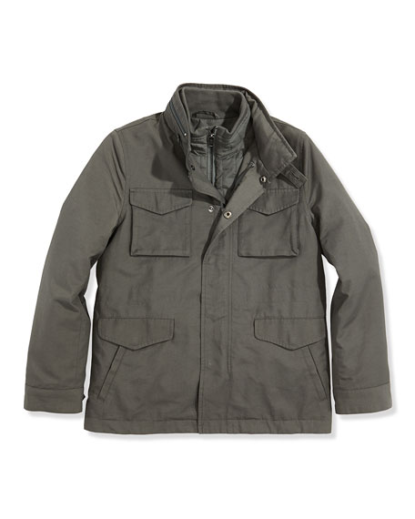Boys' 3-in-1 Field Jacket, Dark Gray, 4-7