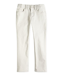 Boys' Twill Trousers, Gray, Sizes 4-7