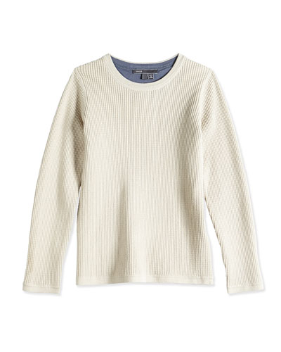 Boys' Thermal Top, Gray, Sizes 4-7