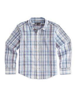 Plaid Woven Shirt, Blue, 4-7
