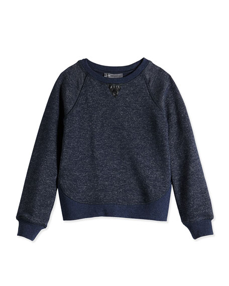 Vince Girls' French Terry Sweatshirt, Blue, Sizes 4-6X