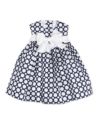 Sleeveless Polka Dot Cotton Dress, Navy/White, Size 2-6X