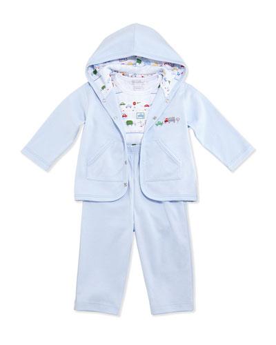 Metro-Print Jog Set w/ Bodysuit, Blue, Size 6-24 Months