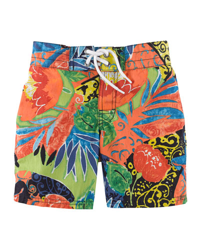 Sanibel Floral-Print Swim Trunks, Navy/Multicolor, Size 2-7