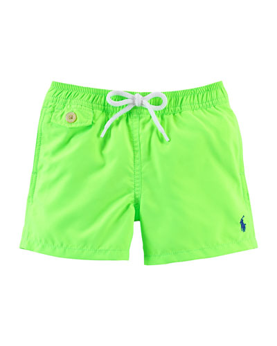Traveler Solid Drawstring Swim Trunks, Size 9-24 Months