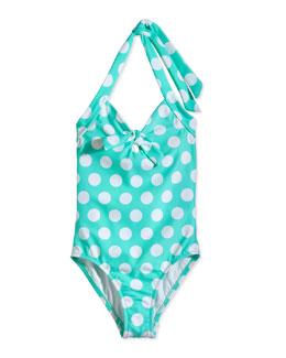 Dot Halter One-Piece Swimsuit, Mintie Green, Sizes 0-7