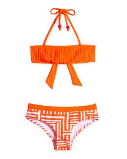 Fringe-Detail Two-Piece Swimsuit, Orange Crush, Size 6-16