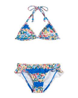 Reversible Floral-Print Two-Piece Swimsuit, Multicolor, Size 6-14
