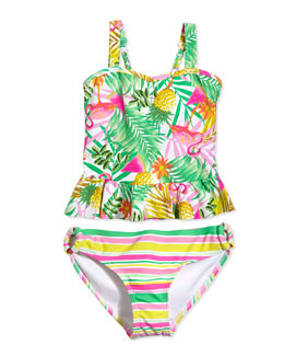 Tropical-Print Two-Piece Tankini Swimsuit, Multicolor, Size 6-16