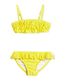 Laser-Cut Ruffle Two-Piece Swimsuit, Lemon Drop, Girls' 0-7