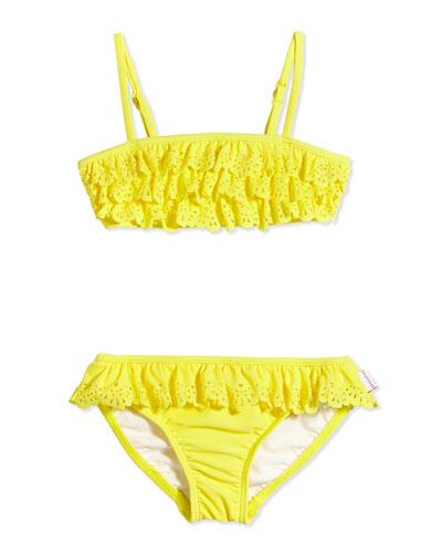 Laser-Cut Ruffle Two-Piece Swimsuit, Lemon Drop, Girls