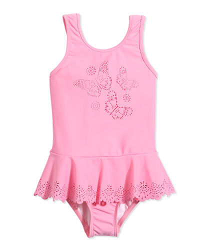 Laser-Cut Butterfly One-Piece Swimsuit, Blush Pink, Girls