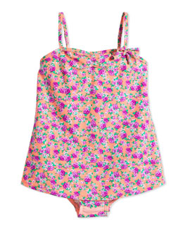 Floral-Print One-Piece Swimsuit, Orange Crush, Girls' 0-7