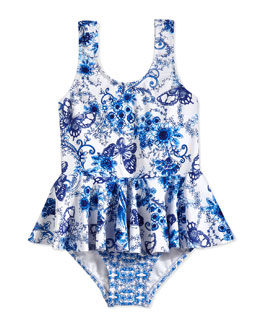 Peplum One-Piece Tank Swimsuit, Blue/White, Girls' 0-7