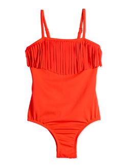 Tutti Cutie One-Piece Swimsuit w/ Fringe, Fluoro Red, Size 0-7