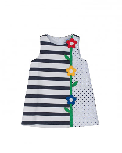 Polka-Dot & Stripe Pique Dress, Navy/White, Size 12M-24M