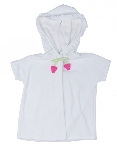 Hooded Short-Sleeve Terry Coverup, White, Size 3M-6M