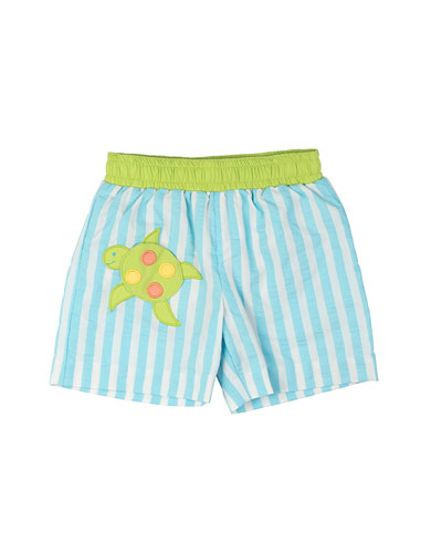 Striped Swim Trunks w/ Turtle, Turquoise/White, Size 6M-24M