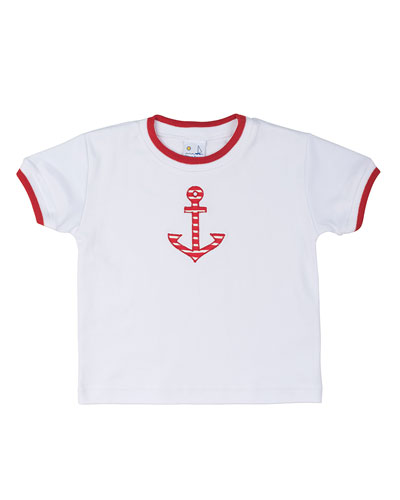 Short-Sleeve Jersey Tee w/ Anchor, White, Size 6M-24M