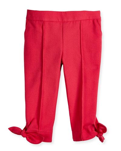 Pique-Knit Pants w/ Bow Detail, Bright Pink, Size 2-6