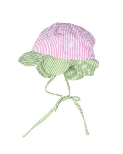 Seersucker Sun Hat, Pink/Green