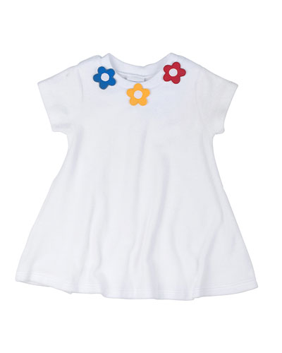 Short-Sleeve Terry Coverup w/ Floral Detail, White, Size 2T-6X