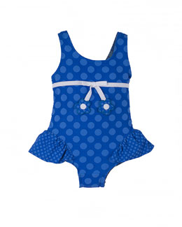 Polka-Dot One-Piece Swimsuit, Royal, Size 2T-6X
