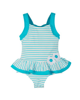 Striped One-Piece Swimsuit w/ Ruffle Skirt, Turquoise/White, Size 2T-6X