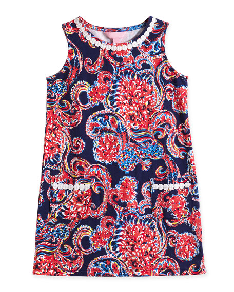 Little Lilly Paisley-Print Knit Shift Dress, Multicolor, Size XS-XL