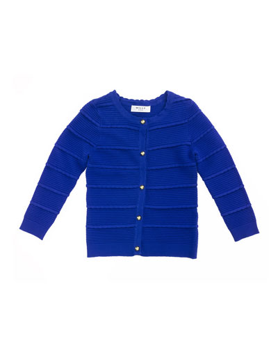 Tiered Ottoman Cardigan, Cobalt, Size 2-7