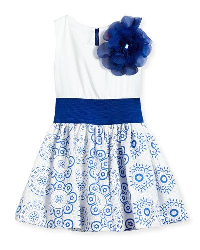 Sleeveless Dress w/ Lace Skirt, White/Blue, Size 7-14