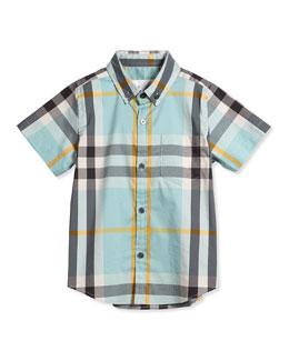Short-Sleeve Check Poplin Shirt, Pale Cyan Green, Size 4Y-14Y